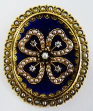 LADIES VICTORIAN 14KT YG ENAMELED PIN/PENDANT