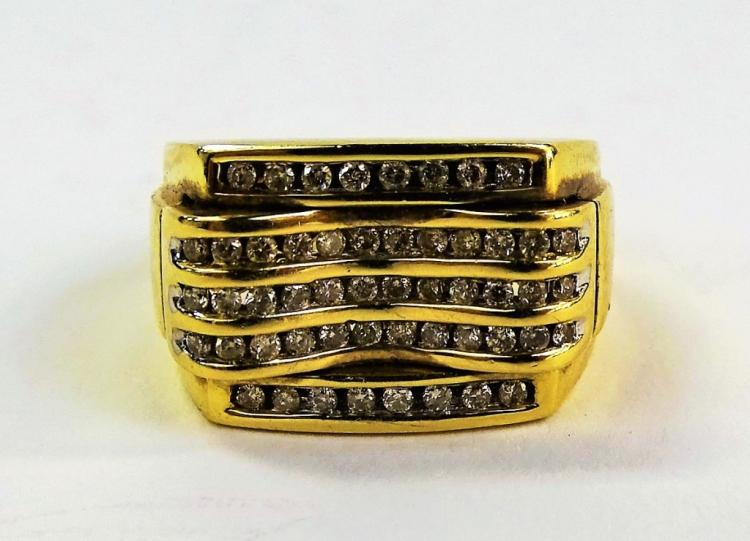 MENS VINTAGE 14KT YG 1.00CT DIAMOND RING