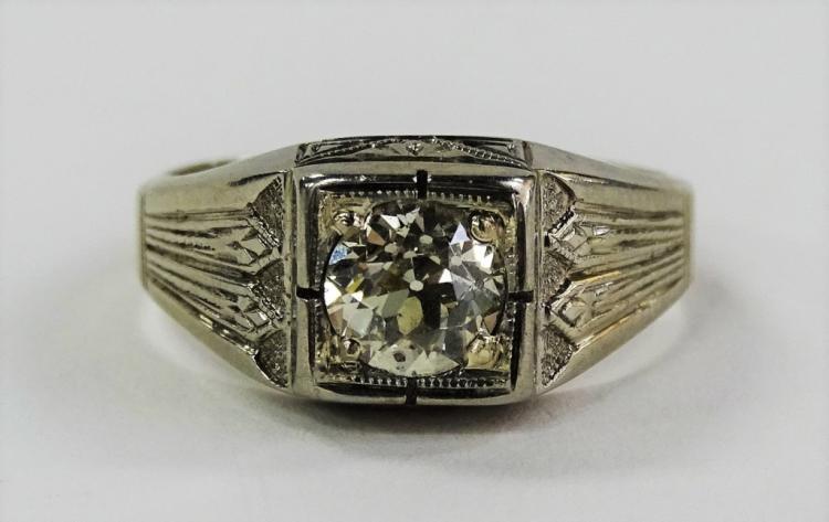MENS ART DECO 18KT WG 1.00CT DIAMOND FILIGREE RING