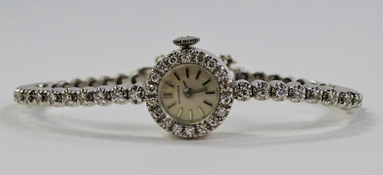 LADIES VTG 14KT WG JUVENIA 1.80CT DIAMOND WATCH