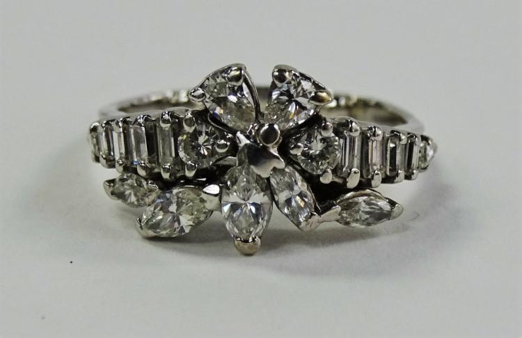 LADIES 14KT WG 1.25CT DIAMOND CLUSTER RING