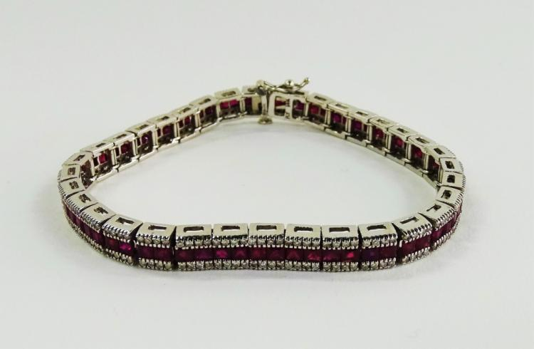 LADIES FANCY 14KT WG RUBY & DIAMOND BRACELET