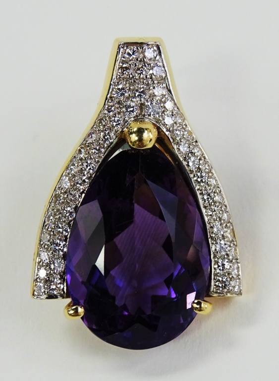 LADIES 14KT YG 20.00CT AMETHYST & DIAMOND PENDANT