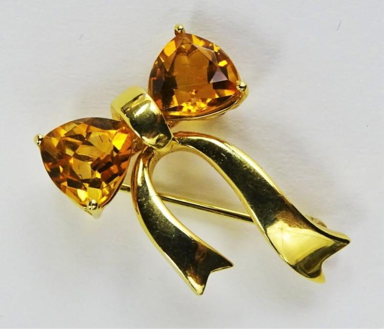 LADIES 18KT YG TIFFANY & CO. TOPAZ BOW PIN