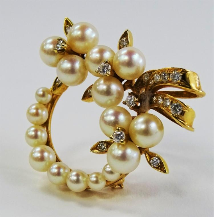 LADIES VINTAGE 14KT YG DIAMOND & PEARL BROOCH