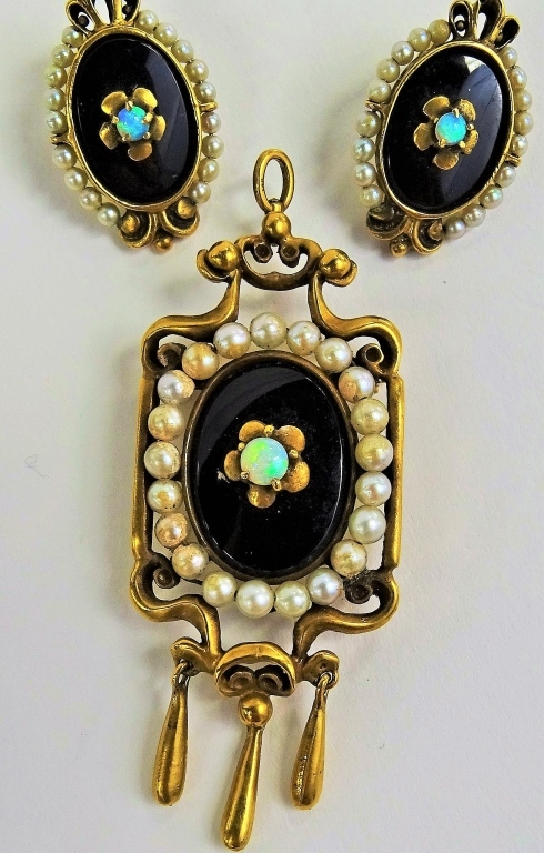 VICTORIAN 14KT GOLD OPAL SEED PEARL & ENAMEL SUITE