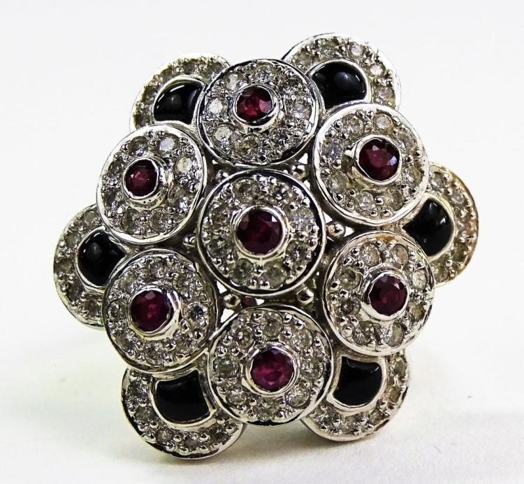 LADIES 18KT WG RUBY DIAMOND & BLACK ONYX RING