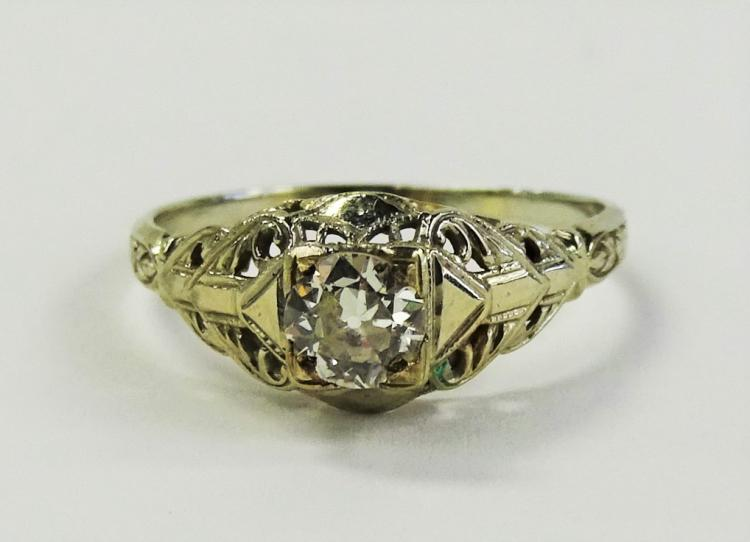 LADIES ART DECO 18KT WG .50CT DIAMOND RING