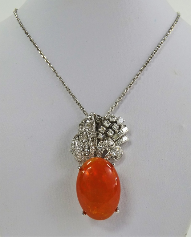 LADIES 14KT WG & PLATINUM MEXICAN OPAL NECKLACE