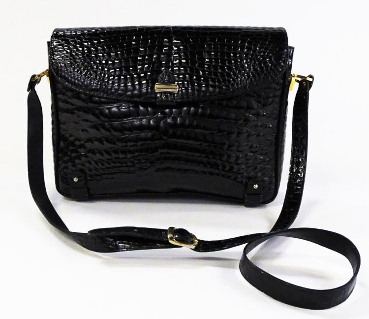 NUOVO BIDENTE WOMANS BLACK CROCODILE WOMANS BAG