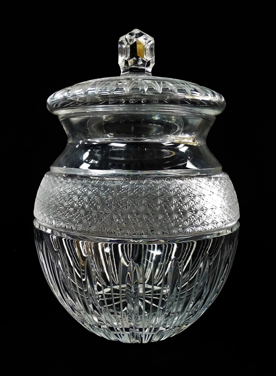 TALL SPARKLING CRYSTAL CUT LIDDED GINGER JAR