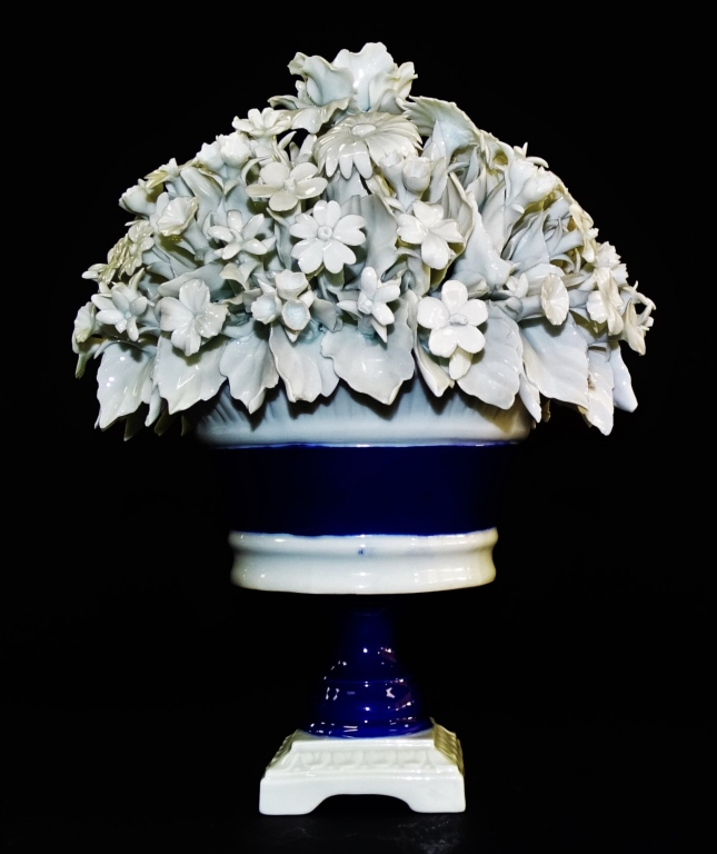 CAPODIMONTE PORCELAIN FLOWERS ON A CACHE POT
