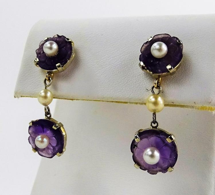 PR LADIES 14KT YG FLORAL AMETHYST & PEARL EARRINGS