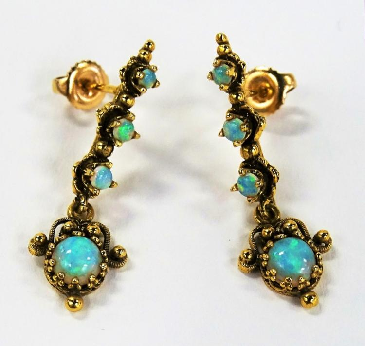 PR LADIES VICTORIAN STYLE 14KT YG OPAL EARRINGS