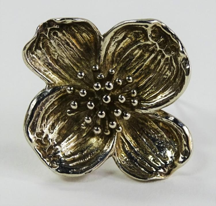 VINTAGE TIFFANY & CO. 925 STERLING DOGWOOD BROOCH