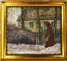 ALBERTA KINSEY ORIGINAL YARD SCENE OIL ON BOARD