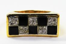 MENS LARGE DECO STYLE 14KT YG DIAMOND & ONYX RING