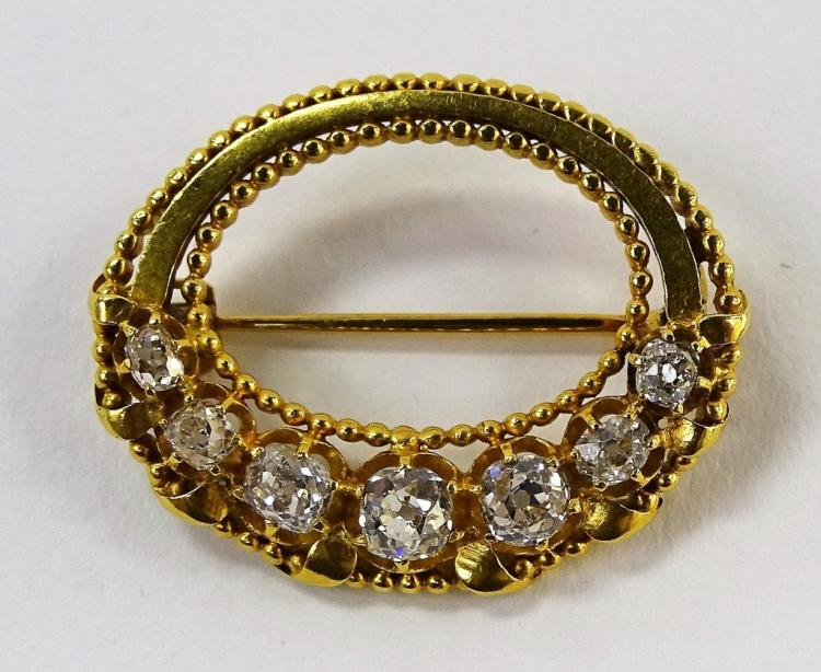 ANTIQUE PRESMANES 18KT YELLOW GOLD DIAMOND PIN