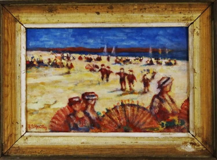 R.S. HEWTON ORIGNAL OIL/PANEL BEACH SCENE PAINTING