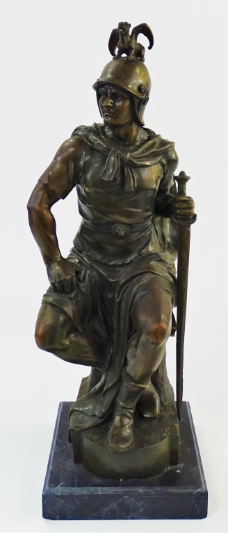BRONZE WARRIOR SCULPTURE ATTRIBUTED TO E. PICAULT