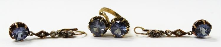 3PC VICTORIAN ERA 12KT RG TOPAZ JEWELRY SUITE