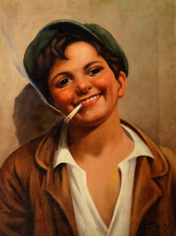 ITALIAN OIL ON CANVAS BOY SMOKING A CIGARETTE