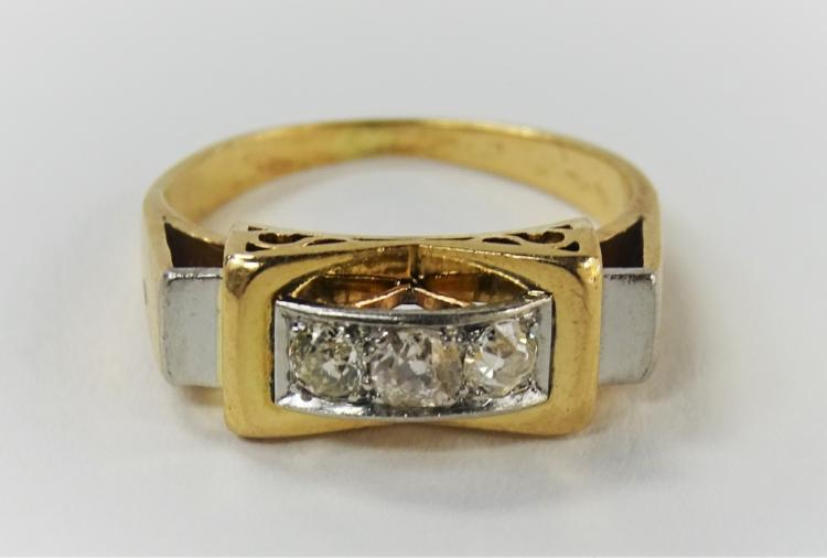 LADIES RETRO 14KT TWO TONE DECO STYLE DIAMOND RING