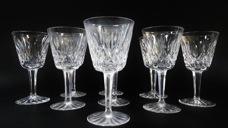 9 WATERFORD LISMORE PATTERN WINE GOBLETS