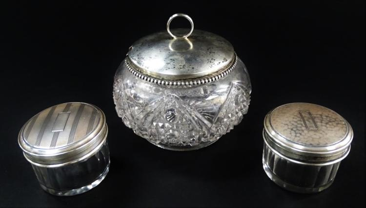 SET OF 3 VINTAGE STERLING CONDIMENT SET