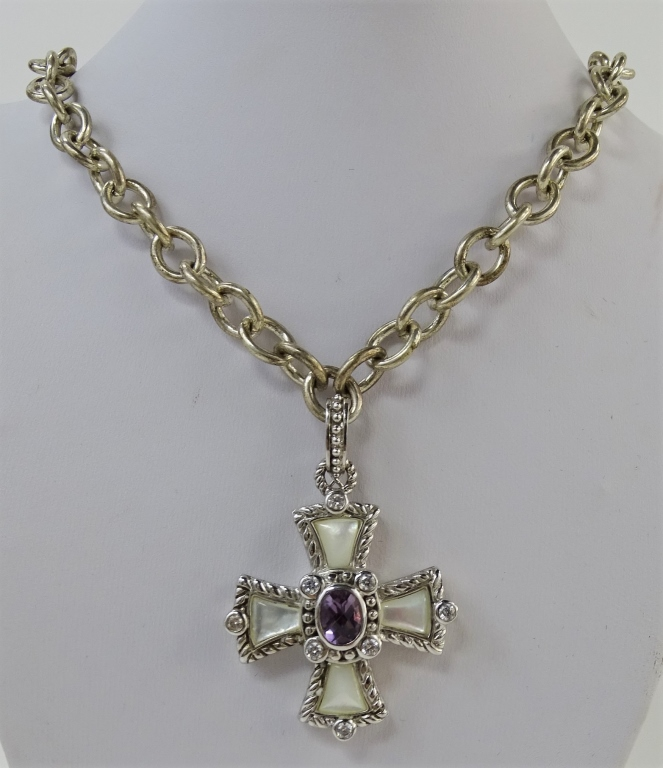 JUDITH RIPKA 925 STERLING CROSS PENDANT NECKLACE