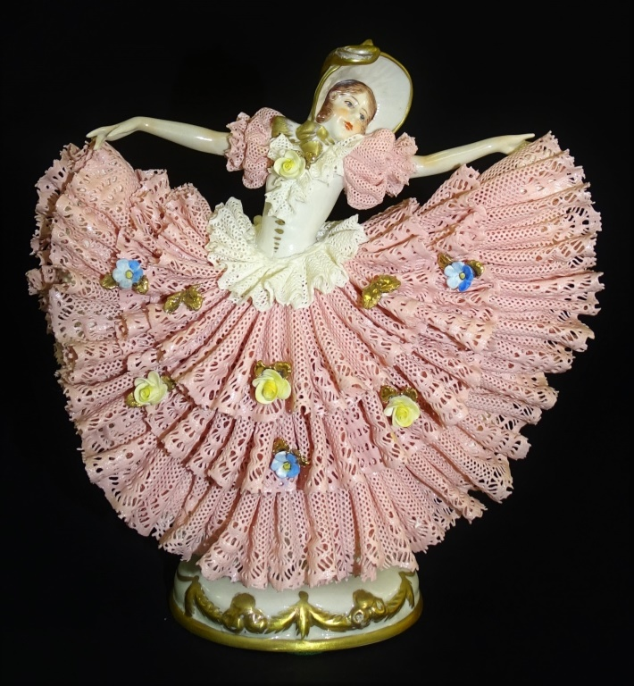 VINTAGE DRESDEN PINK LACE DANCING WOMAN FIGURINE