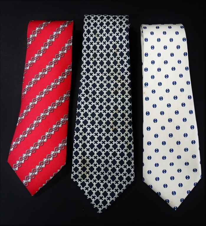 LOT OF 3 DESIGNER HERMES SILK TIES