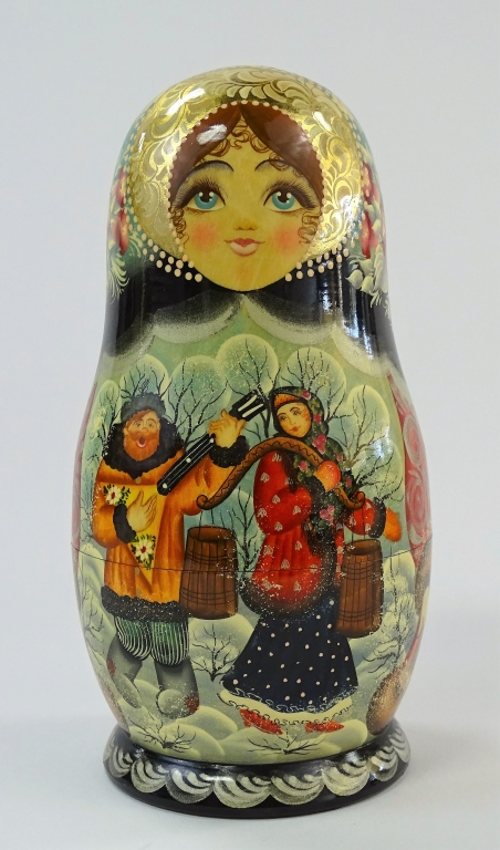 TALL VINTAGE RUSSIAN HAND PAINTED NESTING DOLL