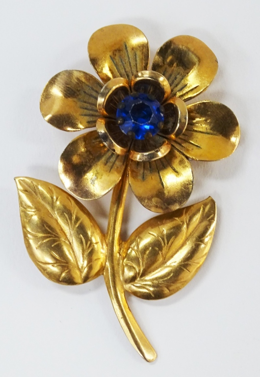 ART DECO GOLD OVER SILVER FLORAL COSTUME PIN