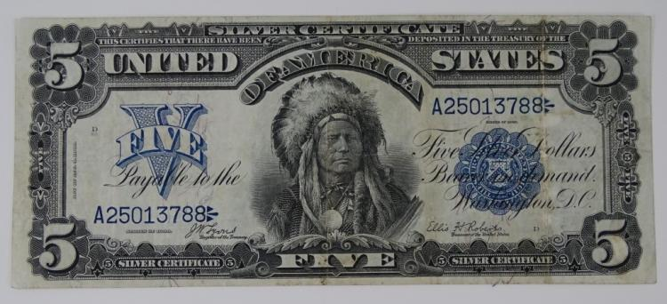 1899 SERIES $5 BLUE SEAL SILVER CERTIFICATE