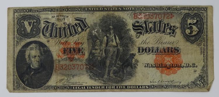 1907 SERIES RED SEAL WOODCHOPPER FIVE DOLLAR BILL