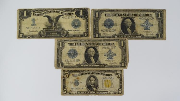 4PC LOT OF OLD CURRENCY ONE & FIVE DOLLAR BILLS