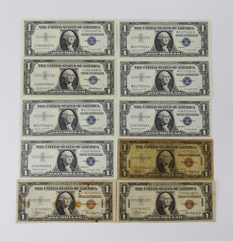 10PCS OLD CURRENCY 1934 & 1957 ONE DOLLAR BILLS