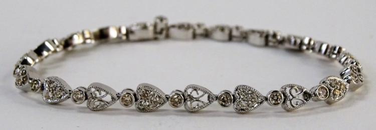 LADIES 14KT WG HEART LINK DIAMOND TENNIS BRACELET