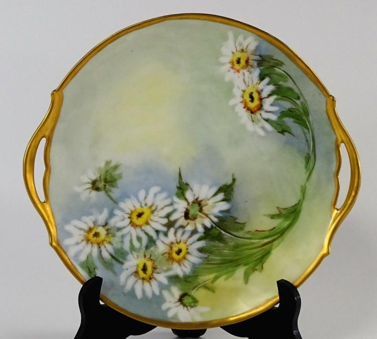 T & V LIMOGES HAND PAINTED HANDLED PLATTER