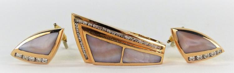 3PC 14KT ROSE GOLD M.O.P & DIAMOND JEWELRY SUITE