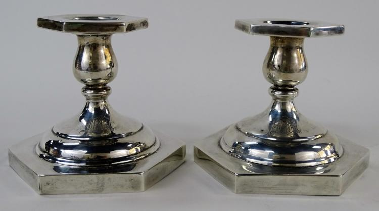 PR HEXAGONAL SHAPED AMERICAN STERLING CANDLESTICKS