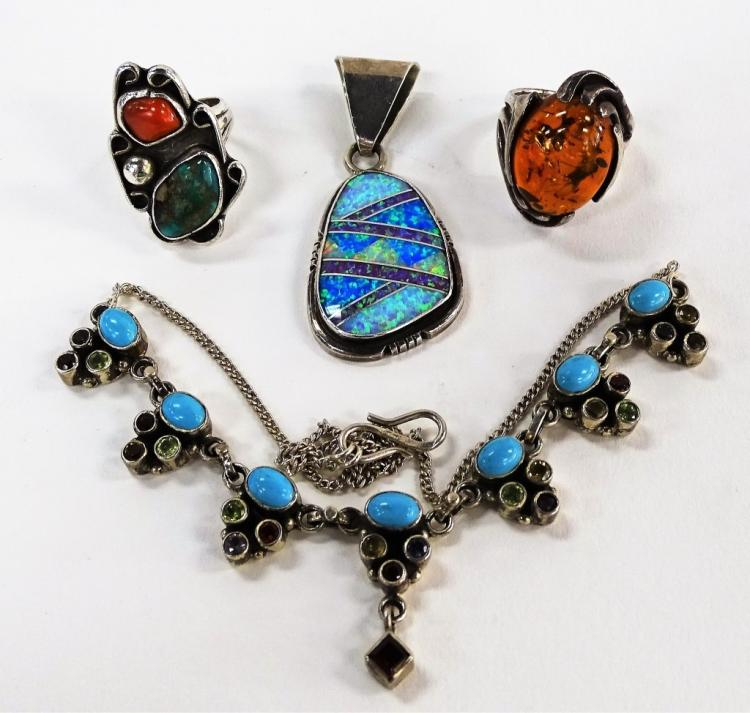 4PCS NAVAJO & SOUTH AMERICAN STERLING JEWELRY