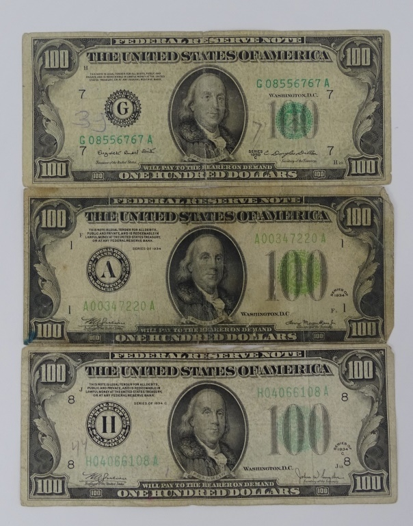 3PC LOT OLD CURRENCY GREEN SEAL $100 BILLS