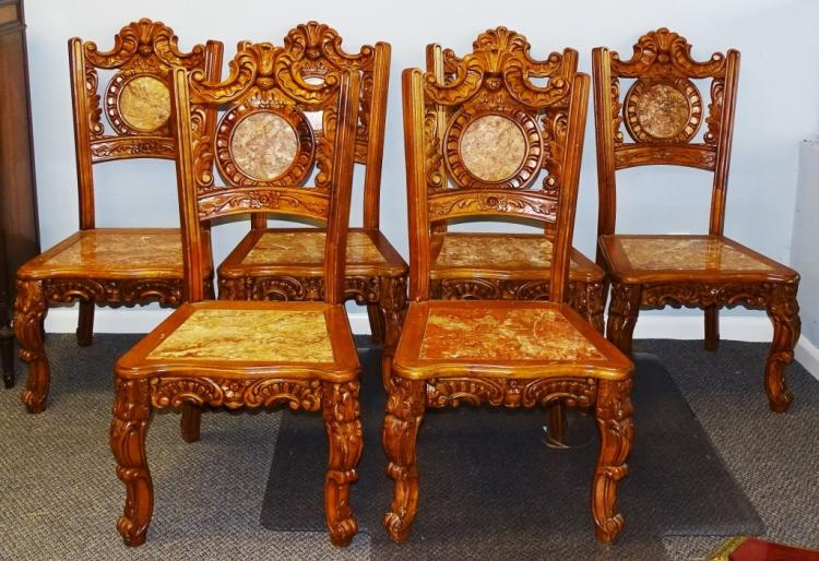 6 ANTIQUE ITALIAN HAND CARVED WOOD & MARBLE CHAIRS
