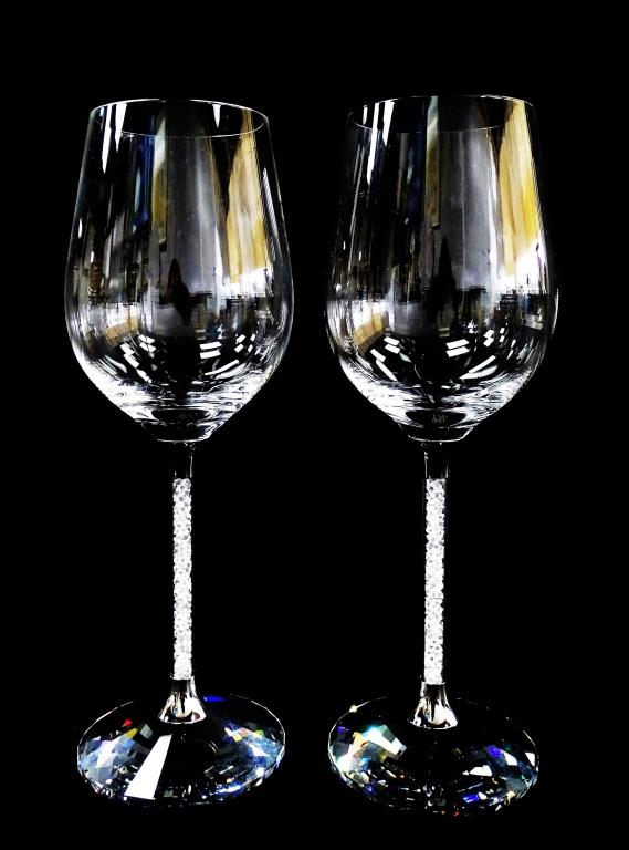 Signature swarovski 39 crystalline 39 wine glasses w box - Swarovski stemware ...