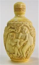 JAPANESE CARVED BONE EROTIC SNUFF BOTTLE