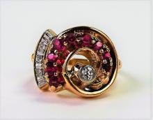 14KT ROSE GOLD RUBY & DIAMOND RETRO RING