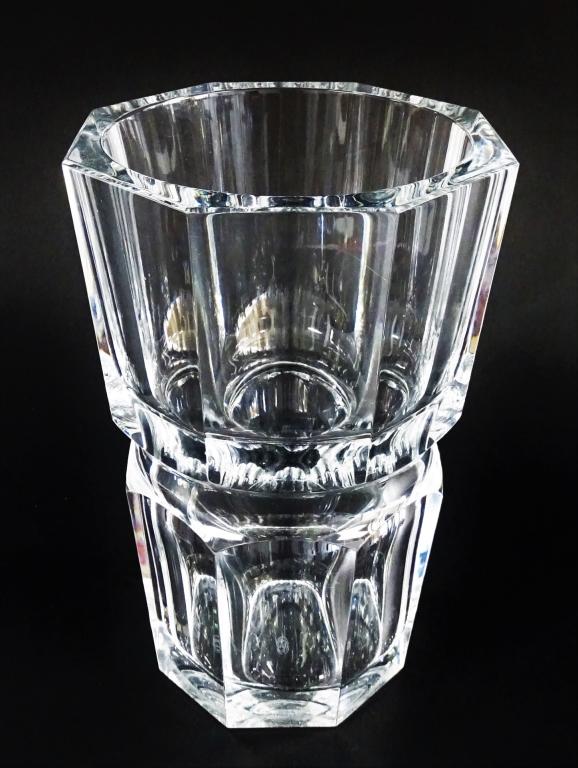 Baccarat French Heavy Cut Crystal Octagonal Vase