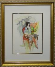 ITZCHAK TARKAY ORIGINAL WATER COLOR HAND SIGNED